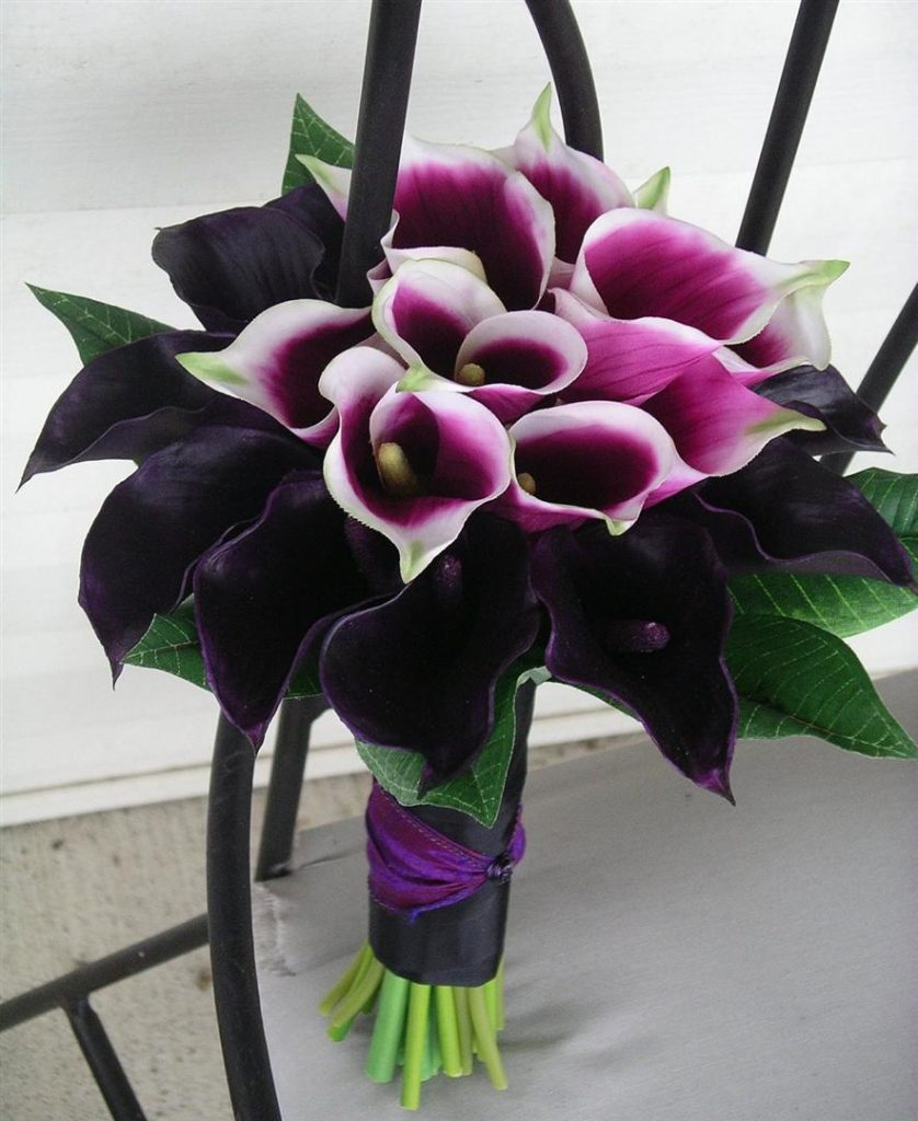 Purple Calla Bridesmaids Bouquet